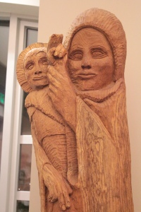 Created in 1997, the statue of Mother with Christ Child was made from an old Catalpa tree.